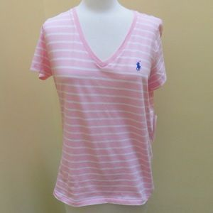 NWT polo pink striped tee size L